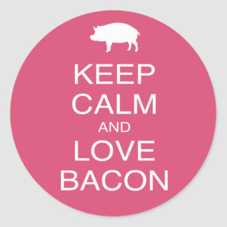 Keep Calm and Love Bacon Print Gift Design Pork Classic Round Sticker