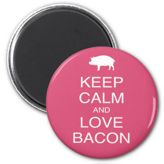 Keep Calm and Love Bacon Print Gift Design Pork Magnet