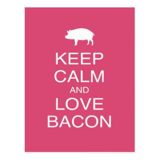 Keep Calm and Love Bacon Print Gift Design Pork Postcard
