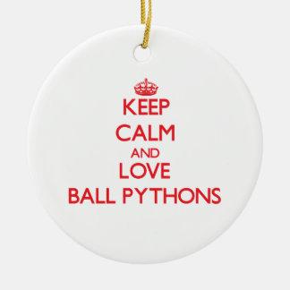 Keep calm and love Ball Pythons Ornaments