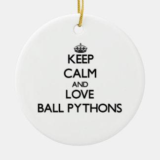 Keep calm and Love Ball Pythons Christmas Ornaments