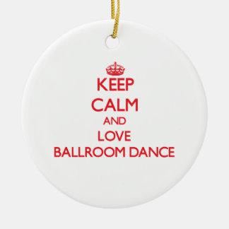 Keep calm and love Ballroom Dance Double-Sided Ceramic Round Christmas Ornament