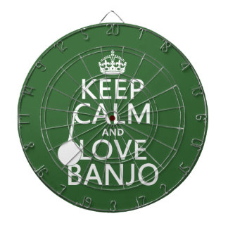 Keep Calm and Love Banjo (any background color) Dartboard With Darts