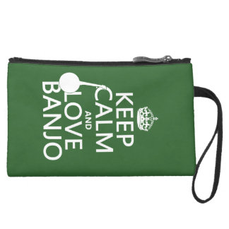 Keep Calm and Love Banjo (any background color) Suede Wristlet Wallet