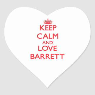 Keep calm and love Barrett Heart Stickers