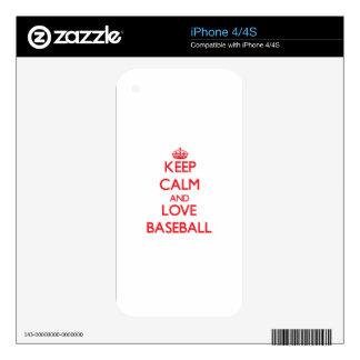 Keep calm and love Baseball iPhone 4 Skin