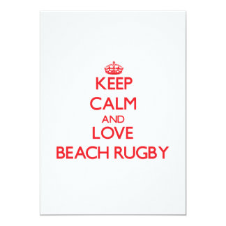 Keep calm and love Beach Rugby 5x7 Paper Invitation Card