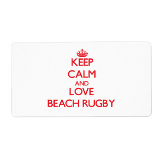 Keep calm and love Beach Rugby Shipping Label