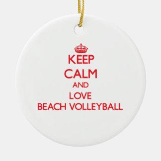 Keep calm and love Beach Volleyball Christmas Ornament