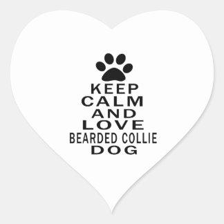 Keep Calm And Love Bearded Collie Heart Sticker