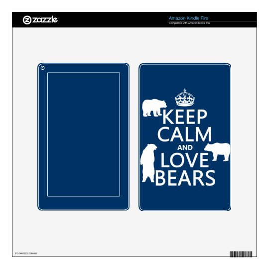 Keep Calm and Love Bears (in all colours) Decal For Kindle Fire