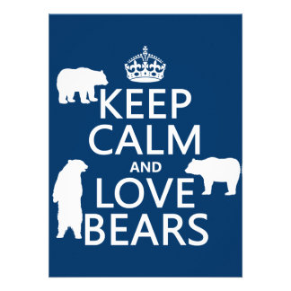 Keep Calm and Love Bears (in all colours) Personalized Invitations