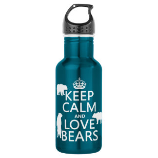 Keep Calm and Love Bears (in all colours) 18oz Water Bottle