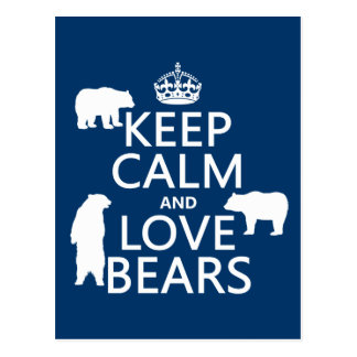 Keep Calm and Love Bears (in all colours) Postcard