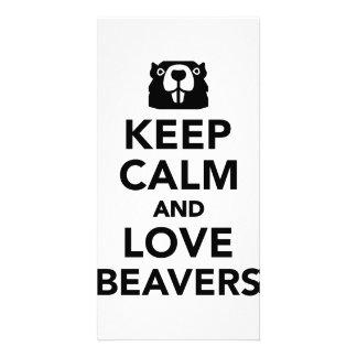 Keep calm and love beavers photo card