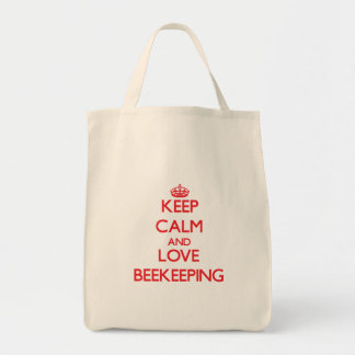 Keep calm and love Beekeeping Grocery Tote Bag
