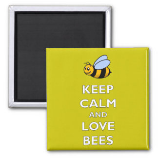Keep Calm and Love Bees - Fridge Magnet
