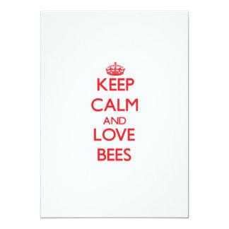 "Keep calm and love Bees 5"" X 7"" Invitation Card"