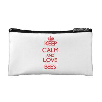 Keep calm and love Bees Makeup Bag