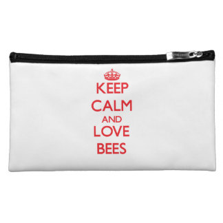 Keep calm and love Bees Makeup Bags