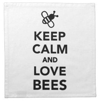 Keep calm and love bees cloth napkins