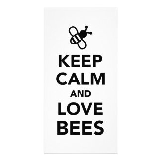 Keep calm and love bees photo card