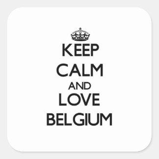 Keep Calm and Love Belgium Square Sticker