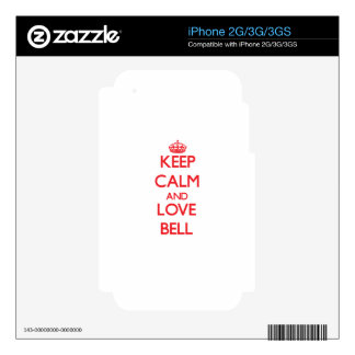 Keep calm and love Bell Decal For The iPhone 3GS