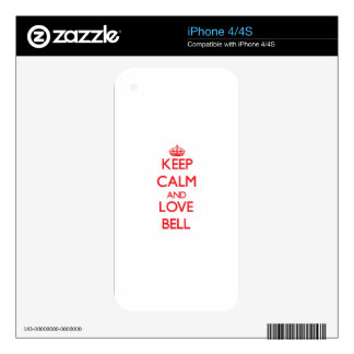 Keep calm and love Bell Skin For iPhone 4S