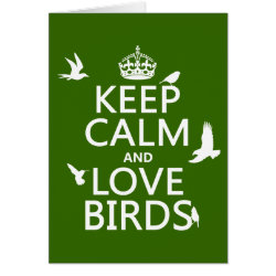 Greeting Card with Keep Calm and Love Birds design