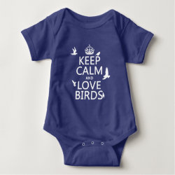 Baby Jersey Bodysuit with Keep Calm and Love Birds design