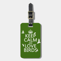 Small Luggage Tag with leather strap with Keep Calm and Love Birds design