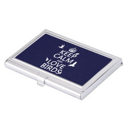 Business Card Holder with Keep Calm and Love Birds design