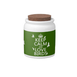 Candy Jar with Keep Calm and Love Birds design