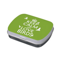Rectangle Jelly Belly™ Candy Tin with Keep Calm and Love Birds design