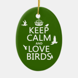 Oval Ornament with Keep Calm and Love Birds design