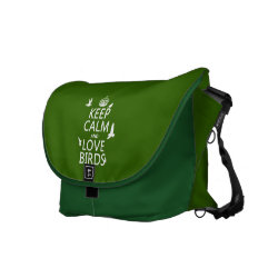 ickshaw Large Zero Messenger Bag with Keep Calm and Love Birds design