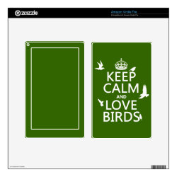 Amazon Kindle DX Skin with Keep Calm and Love Birds design