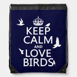 Drawstring Backpack with Keep Calm and Love Birds design