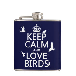 Vinyl Wrapped Flask, 6 oz. with Keep Calm and Love Birds design