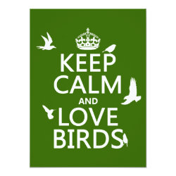 5.5' x 7.5' Invitation / Flat Card with Keep Calm and Love Birds design