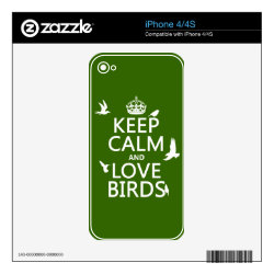 iPhone 4/4S Skin with Keep Calm and Love Birds design