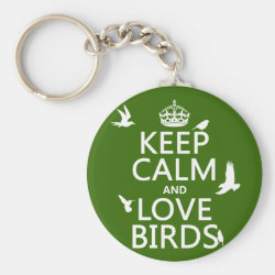Basic Button Keychain with Keep Calm and Love Birds design