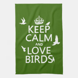Kitchen Towel 16' x 24' with Keep Calm and Love Birds design
