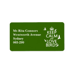 Address Label with Keep Calm and Love Birds design