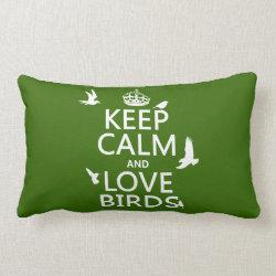 Throw Pillow Lumbar 13' x 21' with Keep Calm and Love Birds design