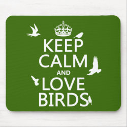 Mousepad with Keep Calm and Love Birds design