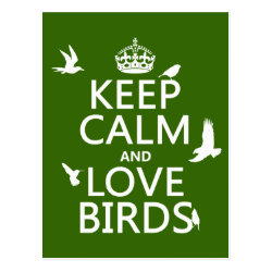 Postcard with Keep Calm and Love Birds design