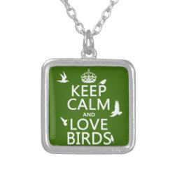 Small Necklace with Keep Calm and Love Birds design