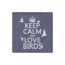 Marble Magnet with Keep Calm and Love Birds design